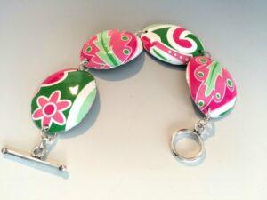 Pink Paisley Link Bracelet