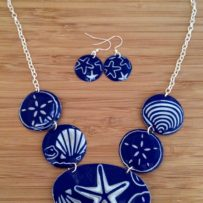 Cobalt Ocean Vintage Tin Necklace