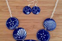 Cobalt Ocean Vintage Tin Necklace