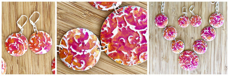 Sunset Pink Embossed Necklace