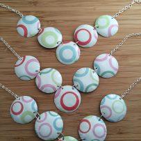 Vintage Tin Pastel Circles Necklace