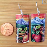 E. Vintage Tin Earrings Celestial Seasonings Mountain Fuji