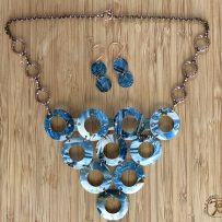 Vintage Tin  Rich Blue Winter 10 Disc Statement Necklace with copper Colored Accents