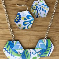 Vintage Tin Hex Pendant  in Blue Green Yellow Floral