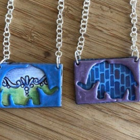 Vitreous Enamel Elephant Pendant Necklace Featuring Vitreous Enamel and Vintage Tin