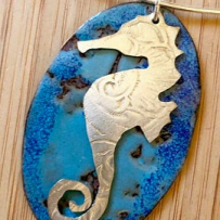 Vitreous Enamel with Silver Plate Repurposed Tray Seahorse Ocean Blue Focal