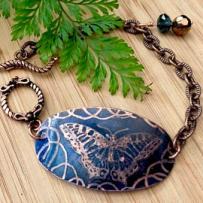 Copper Edinburgh Etched Rustic Montana Blue Butterfly Cuff Bracelet