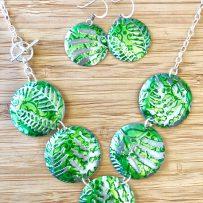 Vintage Tin Necklace Green Fern Motif