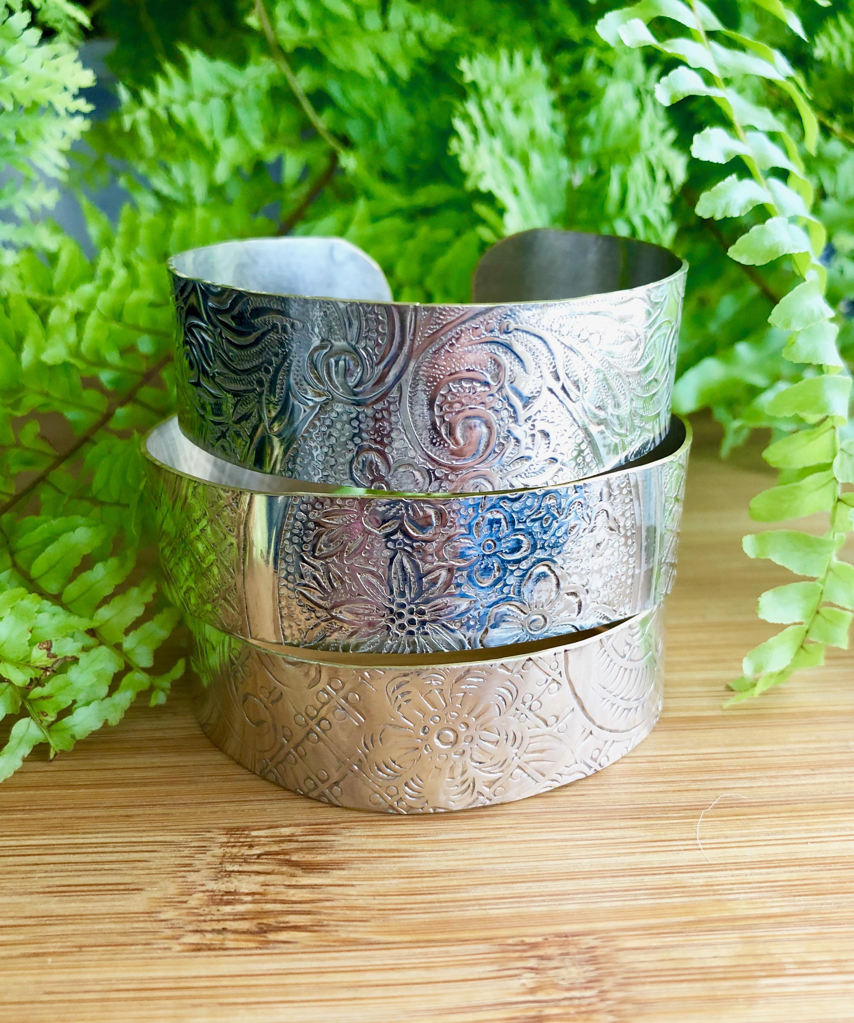 repurposed silver platter cuff bracelets