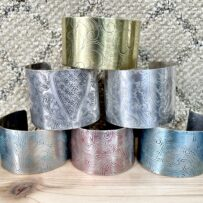 Repurposed Silver Plated or Brass Serving Platter Cuff Bracelet WIDE