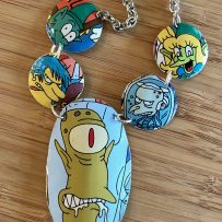Vintage Tin Necklace 'Kang and Kodos' Simpsons Aliens