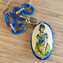 Vintage Tin Necklace  'Antique Meets Modern' Victorian Lady