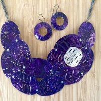 Set- Vintage Tin Necklace Statement Deep Purple Embossed Filigree