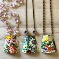 Vintage Tin Necklace Floral Trapezoid Statement Necklace 3 WAYS