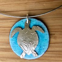 Vitreous Enamel and Repurposed Silver Platter Turtle Necklace