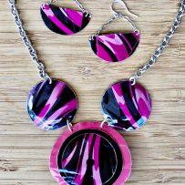 Set- Vintage Tin Hot Pink Tiger Necklace & Earrings