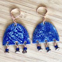 Vitreous Enamel Blue Crackle Chandelier Earrings