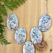 Vintage Tin Necklace Victorian Violets Ovals