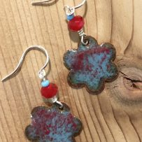 Vitreous Enamel Sapphire and Ruby Flower Earrings