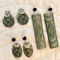 E. Vintage Tin Earrings Victorian Vine Inspired