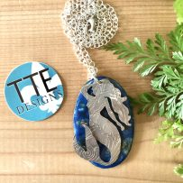 Vitreous Enamel and Repurposed Silverplate Mermaid Pendant