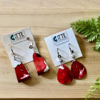 E. Vintage Tin Earrings Red Watercolor