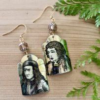 E. Vintage Tin Earrings – Two Gentlemen of Verona -Mix Matched Portraits