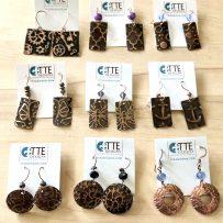 Copper Rustic Embossed Earrings