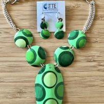 Set – Vintage Tin Shades of Green- Dots & Circles