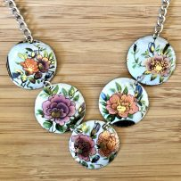 N. Vintage Tin Necklace Rustic Oriental Inspired Floral with Silver