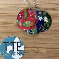 Vintage Tin Necklace Reversible 'Trifecta'  3 Color Way Necklace