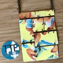 Vintage Tin Necklace Charming Yellow Rectangle Statement