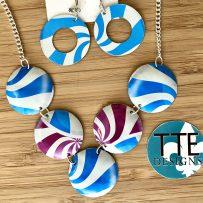Set- Vintage Tin Necklace Swirly Stripes