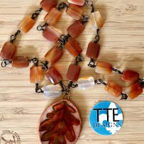 Polymer Clay Oak Leaf Pendant with Wire Wrapped Red Agate Links