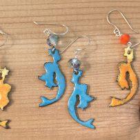 Vitreous Enamel Mermaid and Star Earrings