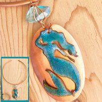 Vitreous Enamel & Copper Mermaid Pendant Necklace
