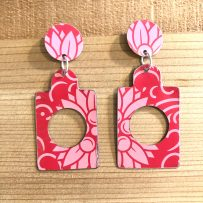 Vintage Tin Earrings JUMBO Pink Graphic Floral