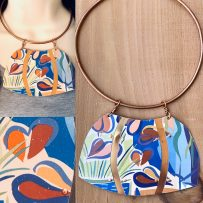 Vintage Tin Necklace Tryptic Pop Art Floral Statement Collar