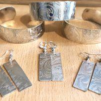 Silverplated Platter Cuff & Earrings Set