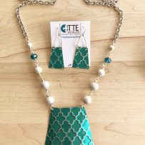 Set Vintage Tin Teal Trapezoid Quatrefoil Pendant & Earrings
