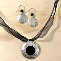 Silverplate Repurposed Platter & Vintage Tin Pendant and Earrings Set