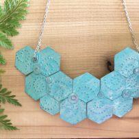 Hexagon Patina Statement Necklace Set