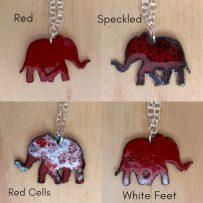 Vitreous Enamel Crimson Elephant Game Day Pendant