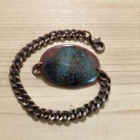 Vitreous Enamel Link Style Bracelet Black Red Blue Crackle