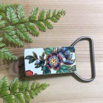 Vintage Tin Belt Buckle Small Floral