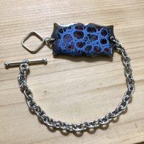 Vitreous Enamel Link Style Bracelet Blue Cells