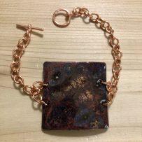 Vitreous Enamel Link Style Bracelet Red Brown Copper