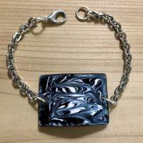 Vitreous Enamel Link Style Bracelet Rectangle Black and White Swirl