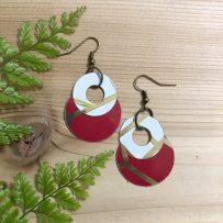 E. Vintage Tin Earrings Red & Ivory Concentric Circles Earrings
