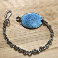Vitreous Enamel Link Style Bracelet Blue Oval Crackle